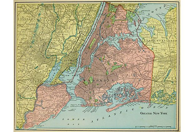Map Of Greater New York City.Greater New York 1902 On Onekingslane Com Map Of New York City And