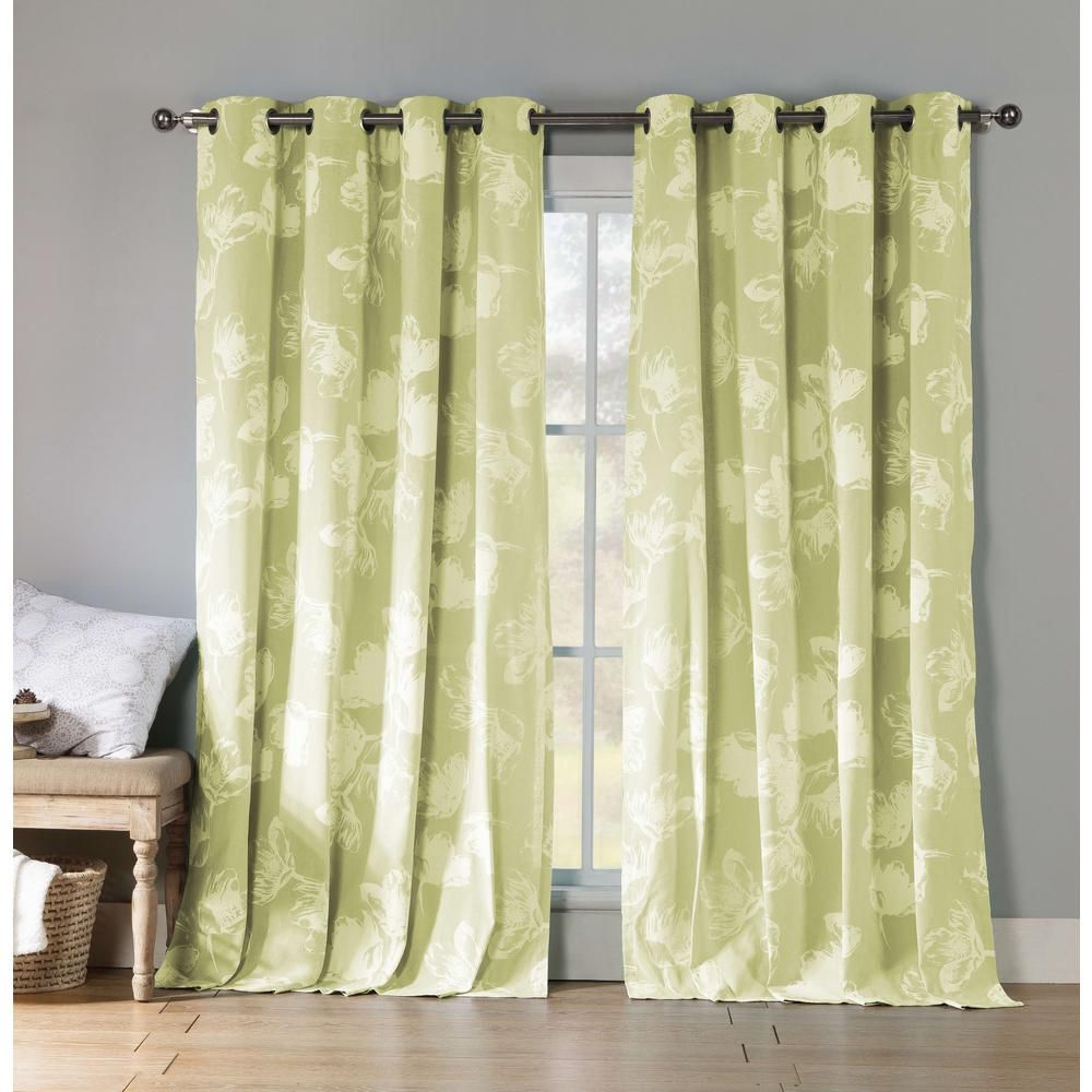 Kensie Aster 84 In L Polycotton Grommet Panel In Bright Green 2 Pack Panel Curtains Curtains Home