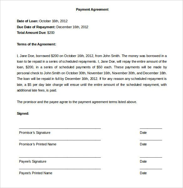 Payment Agreement Template  Template    Letter Sample