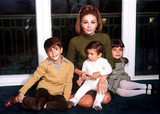 H.I.M. Empress Farah of Iran with HH.II.HH. Prince Reza, Prince Ali Reza and Princess Fahranaz