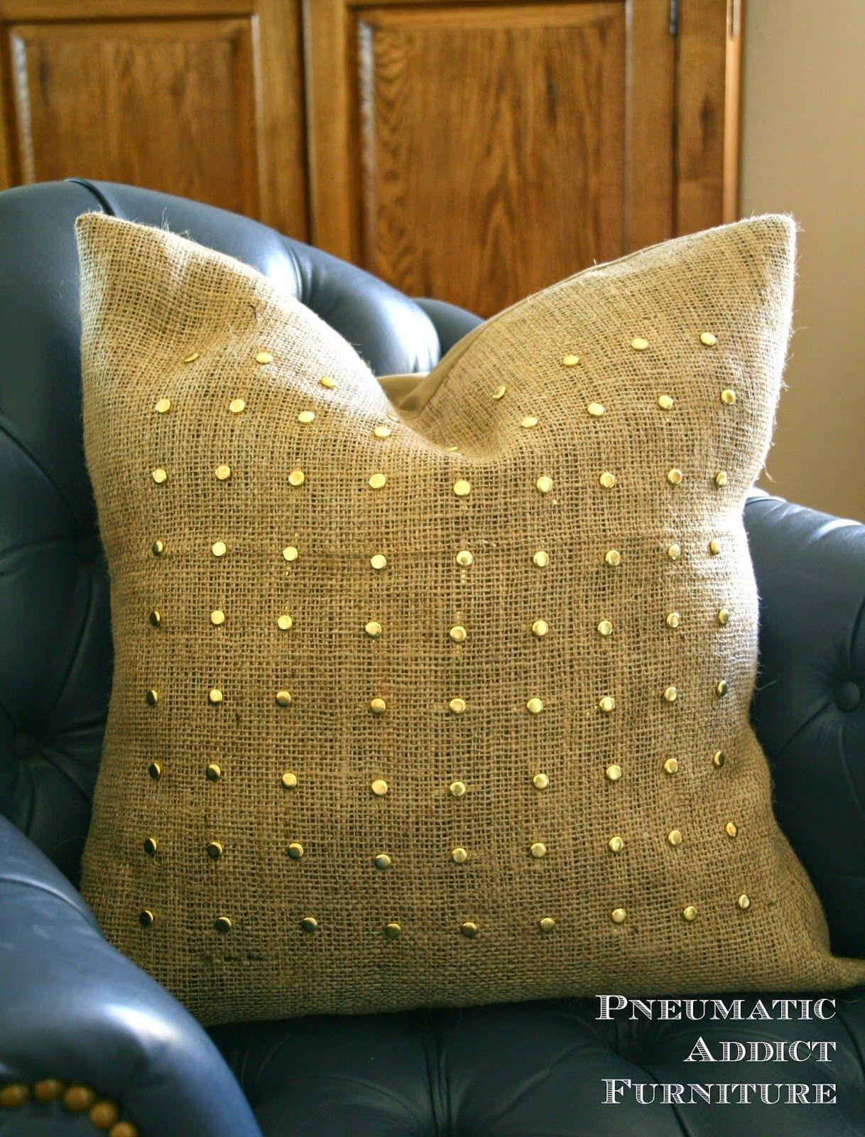 Cheap u easy studded pillow cover diy pinterest pillows craft