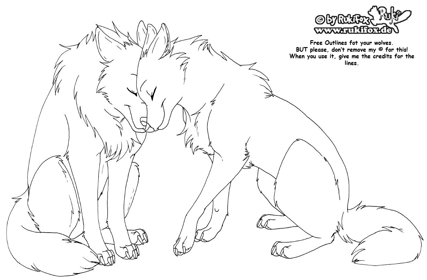 wolves_free_outline_by_rukifox.jpg (1369×898) Cute wolf