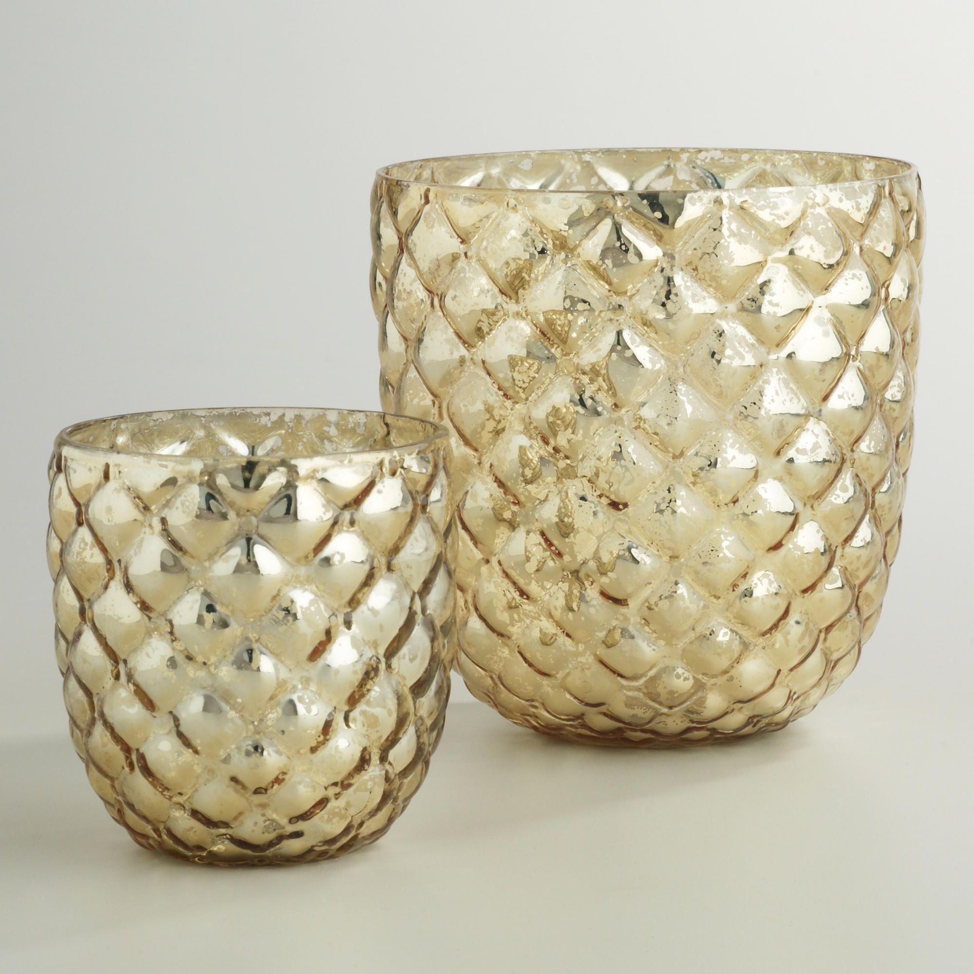 Champagne Gold Hex Mercury Glass Hurricane Candleholder | World ...