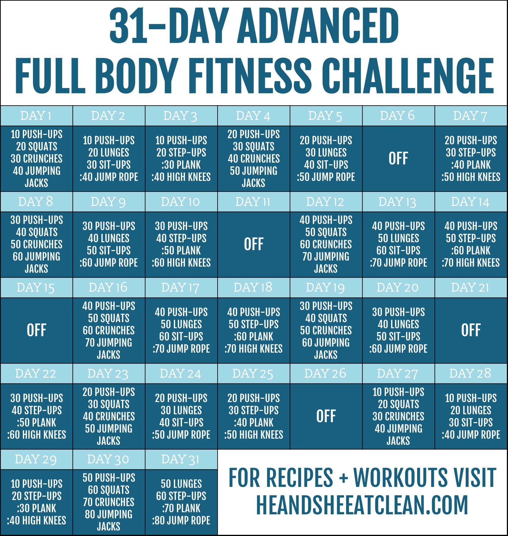 31-Day Advanced Full Body Fitness Challenge