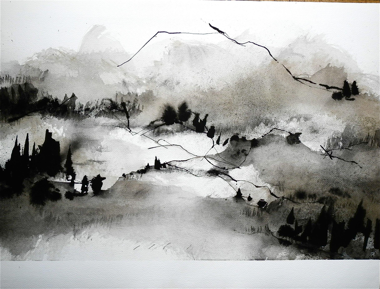 Prunus Encre De Chine Encre De Chine Peintures Asiatiques Encre