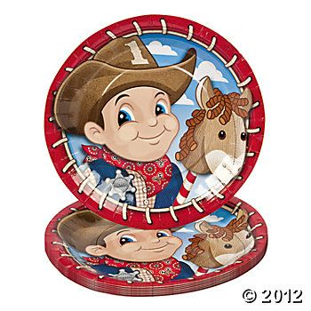 Load up all kinds of grub on these Birthday Cowboy Dinner Plates. A must-have addition to your western theme party supplies these paper plates are .  sc 1 st  Pinterest & 8 1st Birthday Cowboy Dinner Plates | cowboy party | Pinterest ...