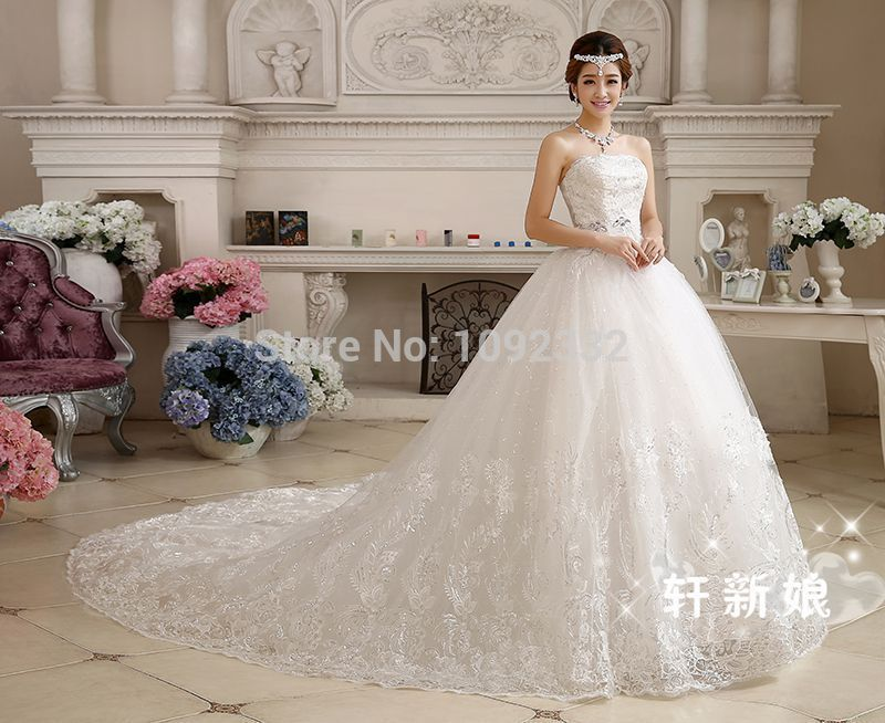 s Stock 2016 New Plus size bridal gown wedding dress long trailing ...