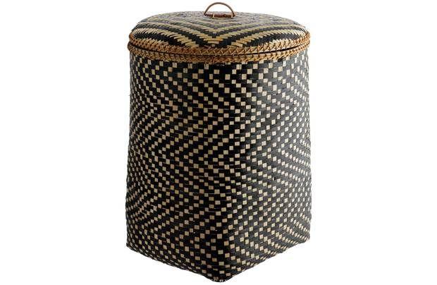 3d71f8237d0 Habitat Idaho Bamboo Weave Laundry Bin - Black  The Idaho bamboo patterned laundry  basket with