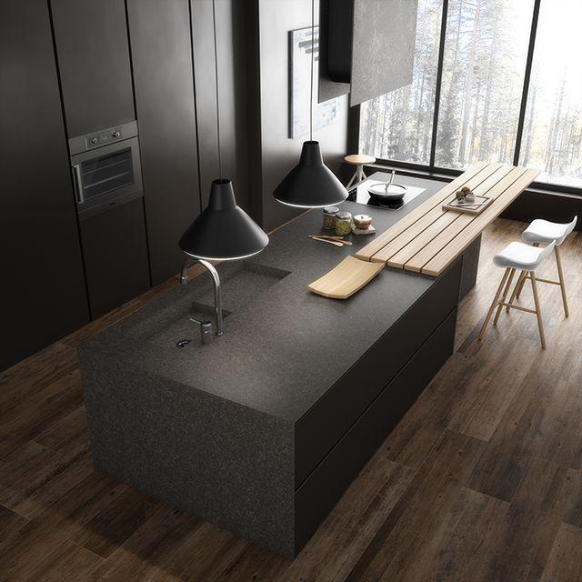 Cocina madera cer mica imitaci n hiper realista de - Porcelanico rectificado madera ...