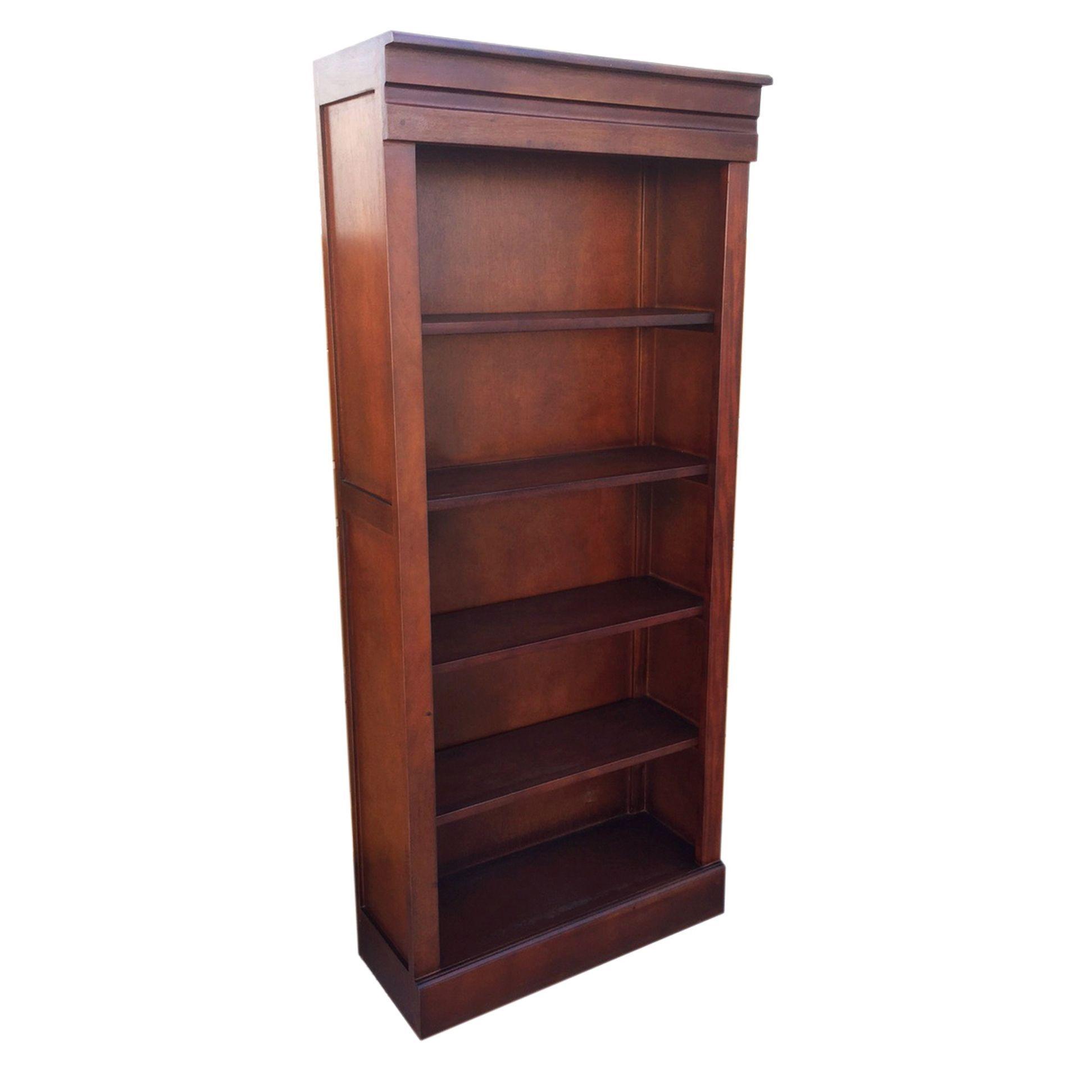 D Art Bellevue Mahogany Wood Tall Bookcase Indonesia Dark Brown