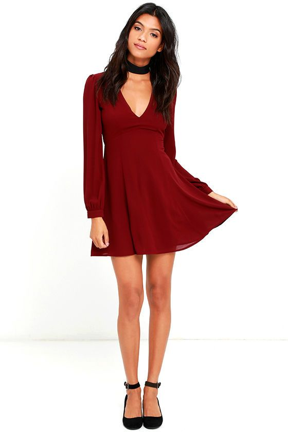 How Sweet Wine Red Long Sleeve Dress | Sweet, An and Zippers