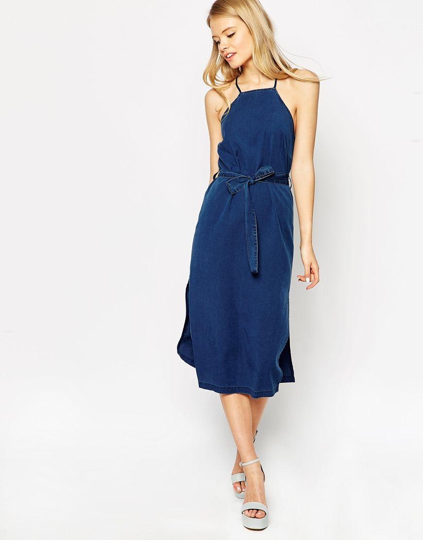 7cdc1fa6bd88 Image 2 of ASOS Denim Cross Back Halter Midi Dress With Tie Blue Midi Dress