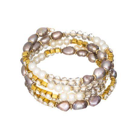 Imitation Pearl Designer Coil Goldtone Bracelet Jewelry Nexus