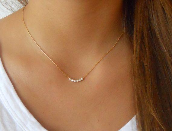 Photo of Gold Filled Halskette mit Sterling Silberperlen; Minimale Gold Filled Halskette; Zierliche Gold Halskette; Zarte Schichtung Gold Kette;