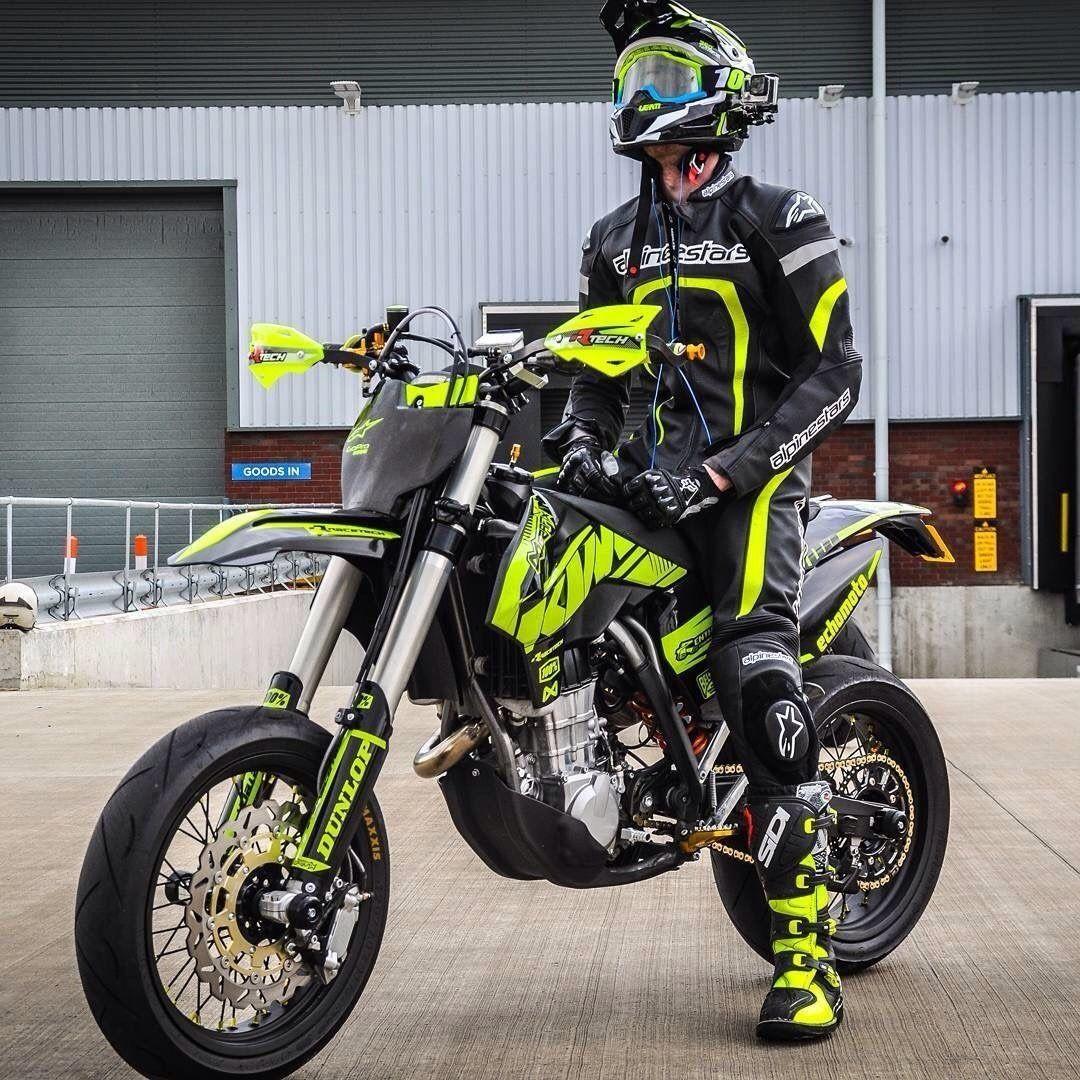 Schwarz Gelbe Kombi Supermoto Enduro Motorcycle Moto Bike