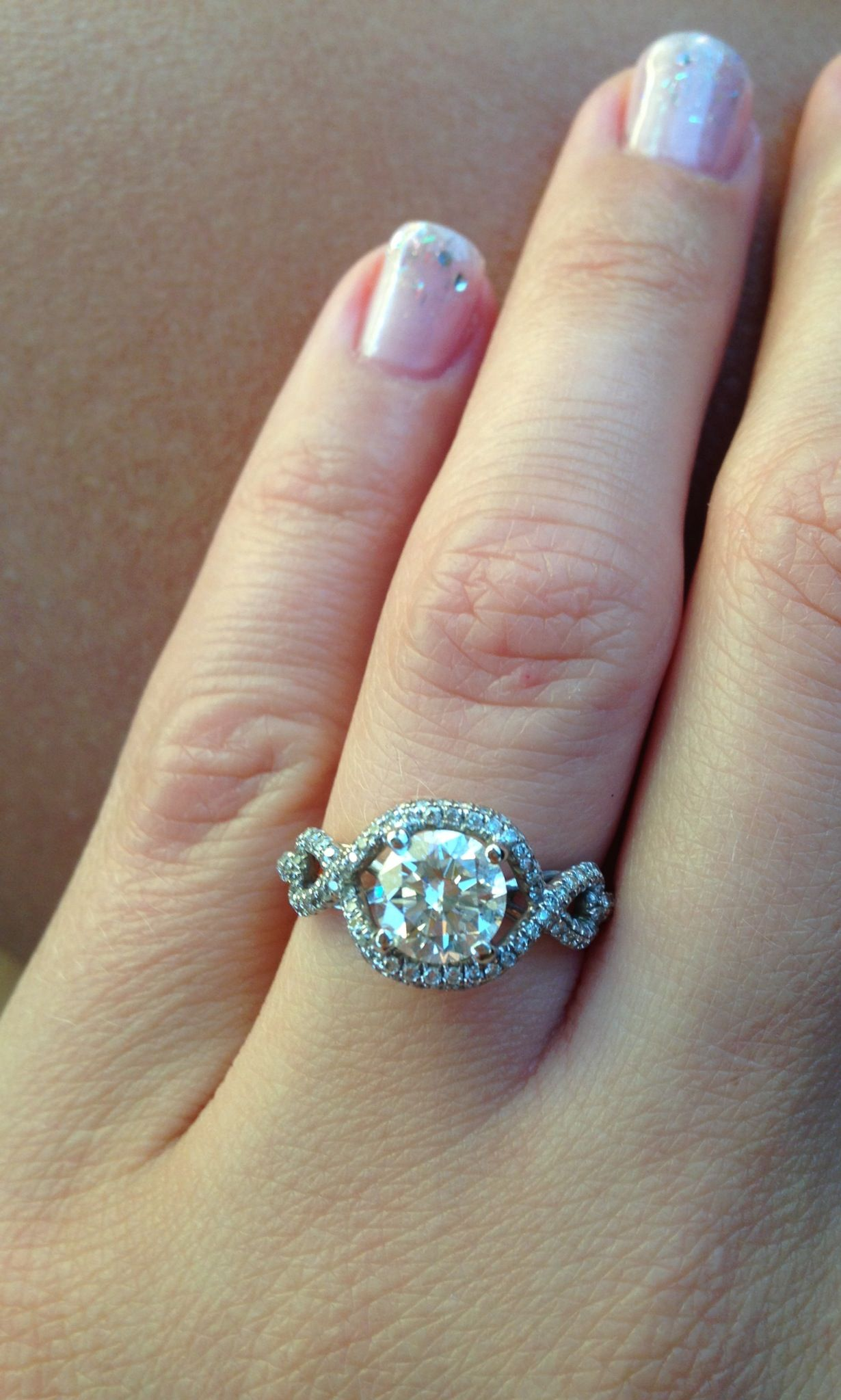 Engagement Ring Open Split Shank Round Halo Pave