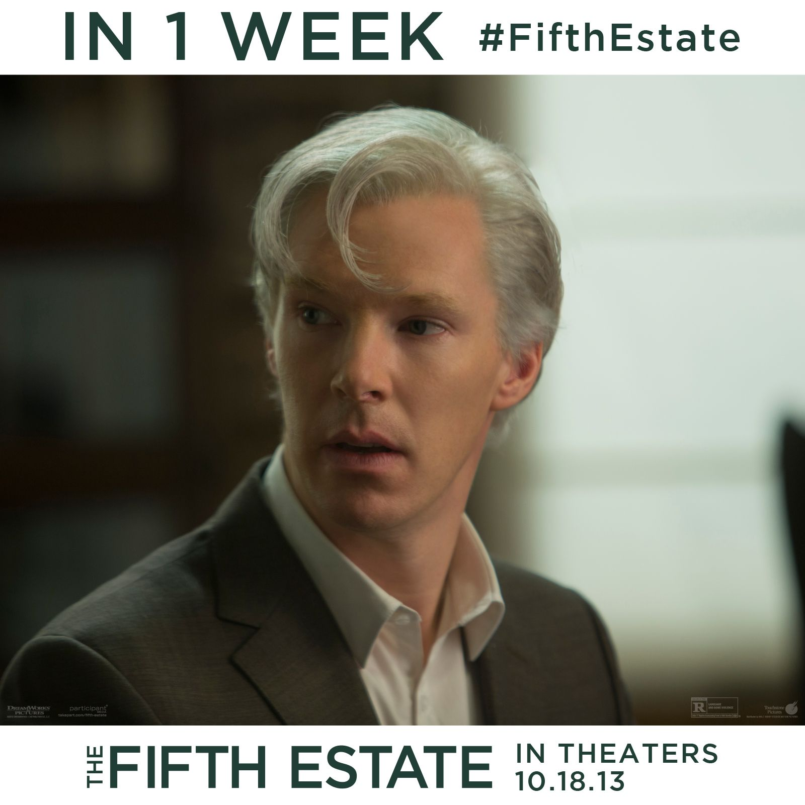 """If you want the truth, you have to seek it out for yourself."" In One Week see Benedict Cumberbatch as Julian Assange in The Fifth Estate. In theaters 10.18! #Cumberbatch #FifthEstate"