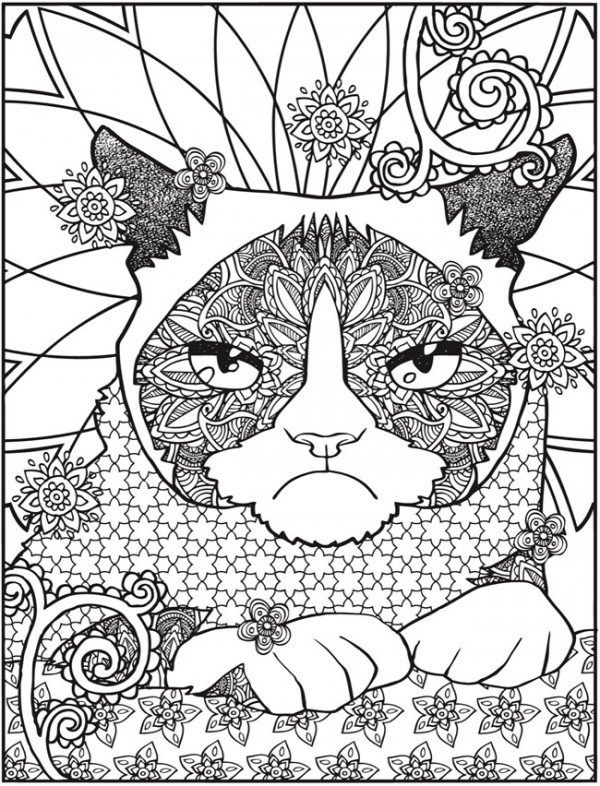 Freebie Grumpy Cat Coloring Page
