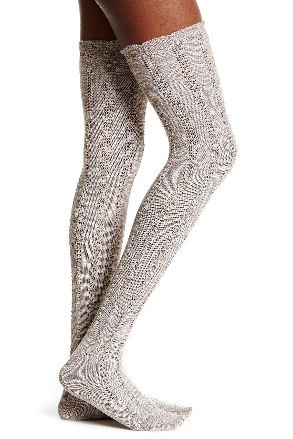 Over-the-Knee Frayed Knit Sock