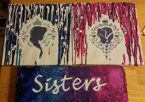 Frozen Crayon Art - Check out this item in my Etsy shop https://www.etsy.com/listing/214749322/frozen-sisters-package-crayon-art-set