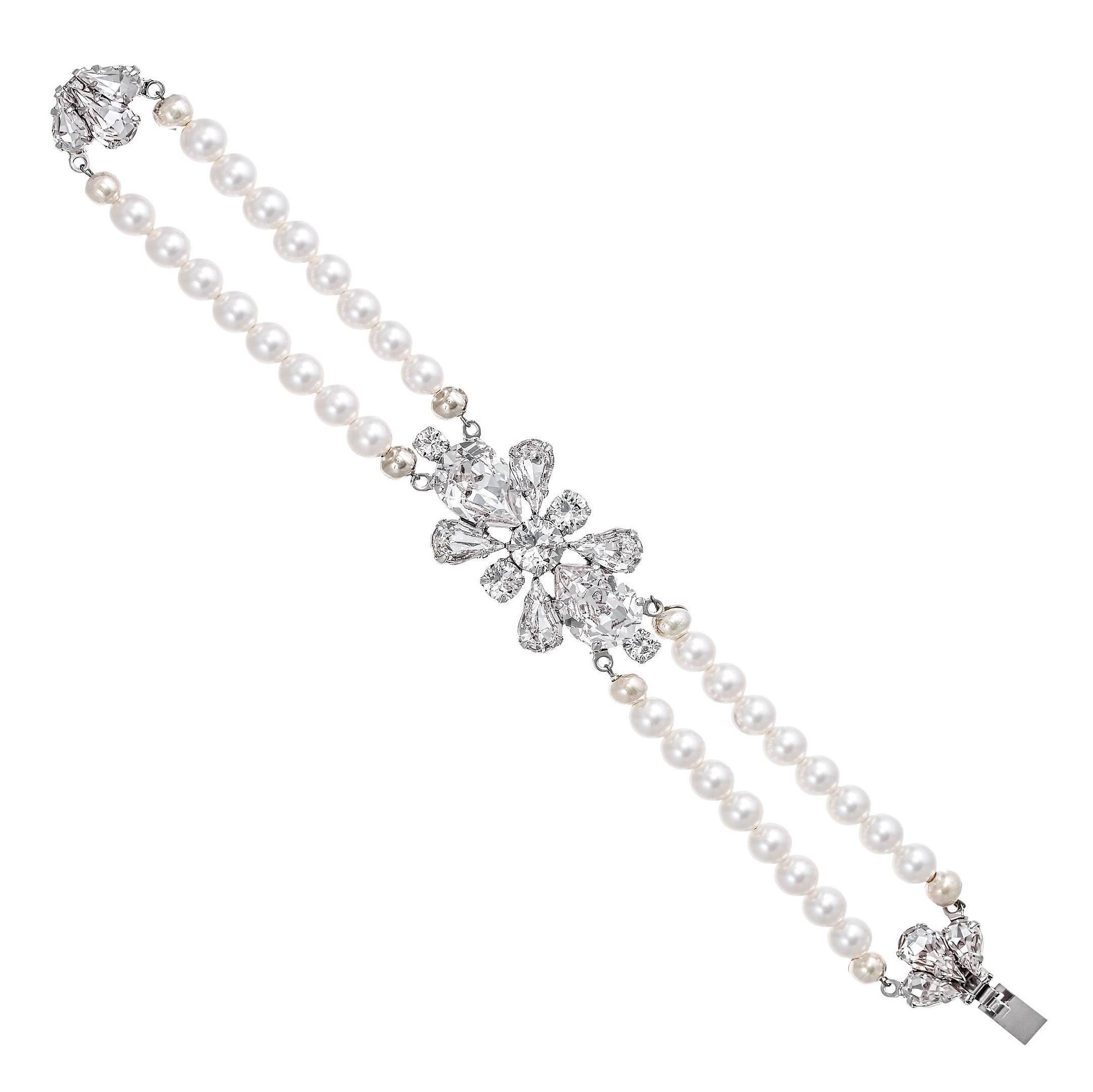 Katarina crystal and freshwater pearl bracelet