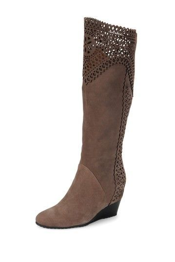 Kitten heel knee high crocheted boot