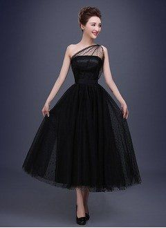 A-Line/Princess One-Shoulder Ankle-Length Satin Tulle Prom Dress - Alternative Measures -
