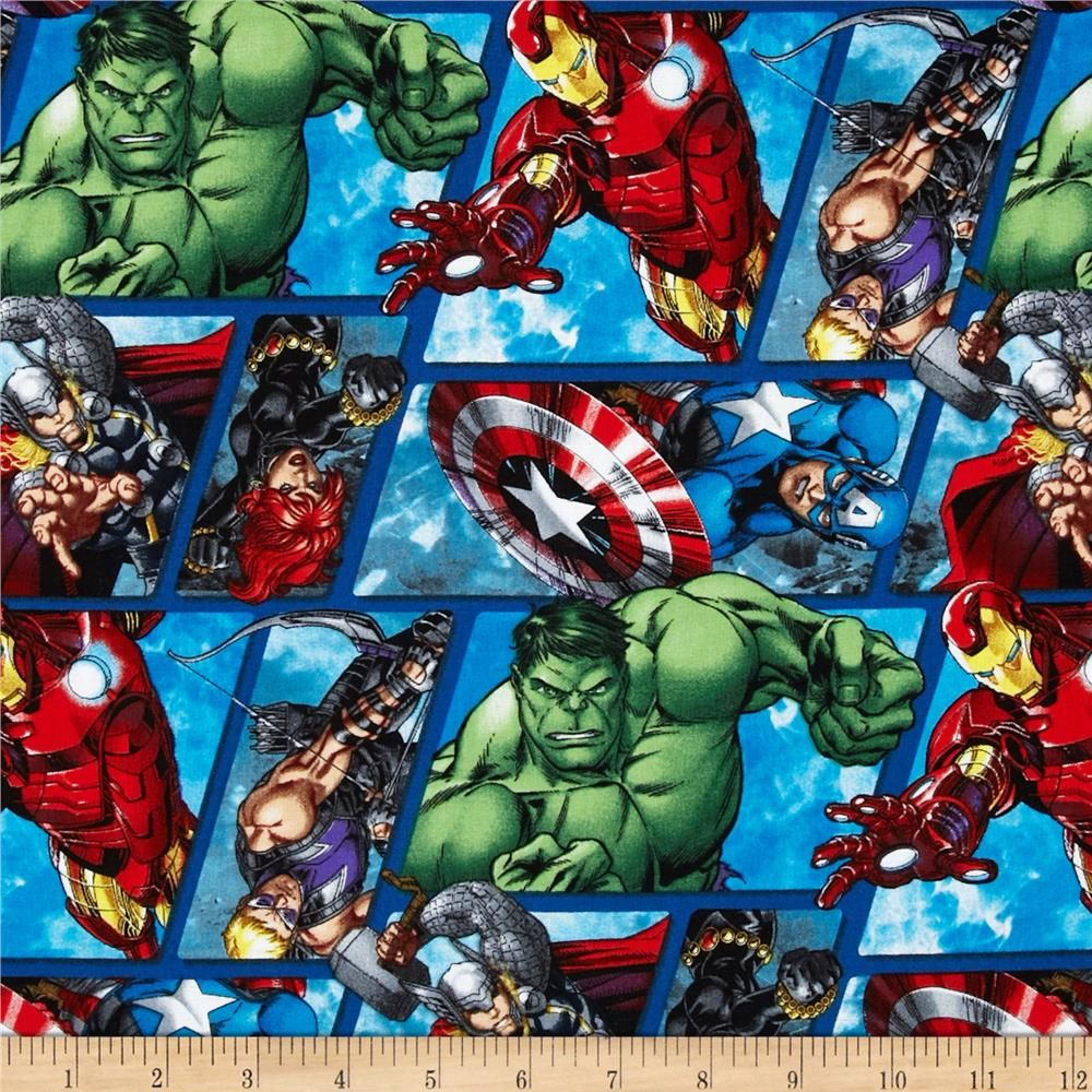 Springs ~ Marvel Comics Patch ~ Hulk Ironman Thor ~ 100/% Cotton Quilt Fabric BTY