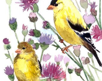 ACEO Limited Edition  5/25- Goldfinches in thistle field