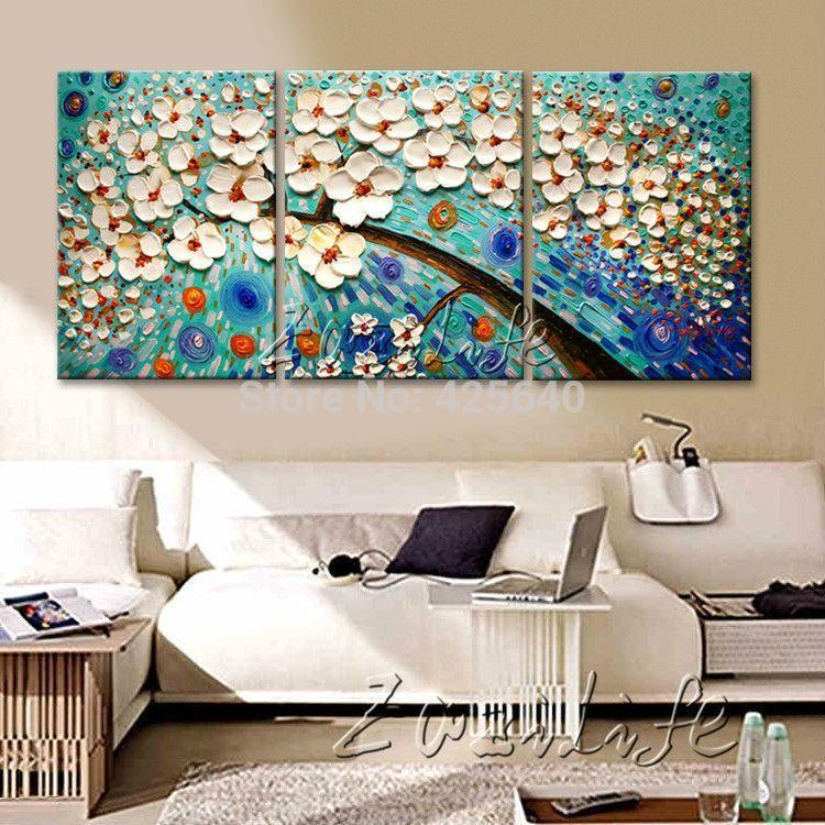Peinture À L'huile 3 Panel Wall Art Image Abstraite Moderne Home Decor Salon Set Palette Knife Toile Cuadros De