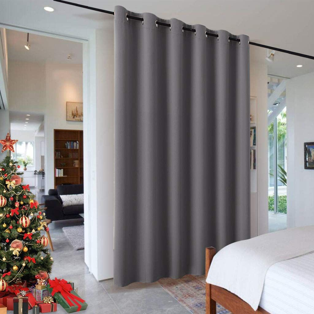 Ryb Home Portable Room Divider Curtain Noise Reduction Privacy Protection Heavy Duty Gromm In 2020 Room Divider Curtain Curtains With Blinds Sliding Glass Doors Patio