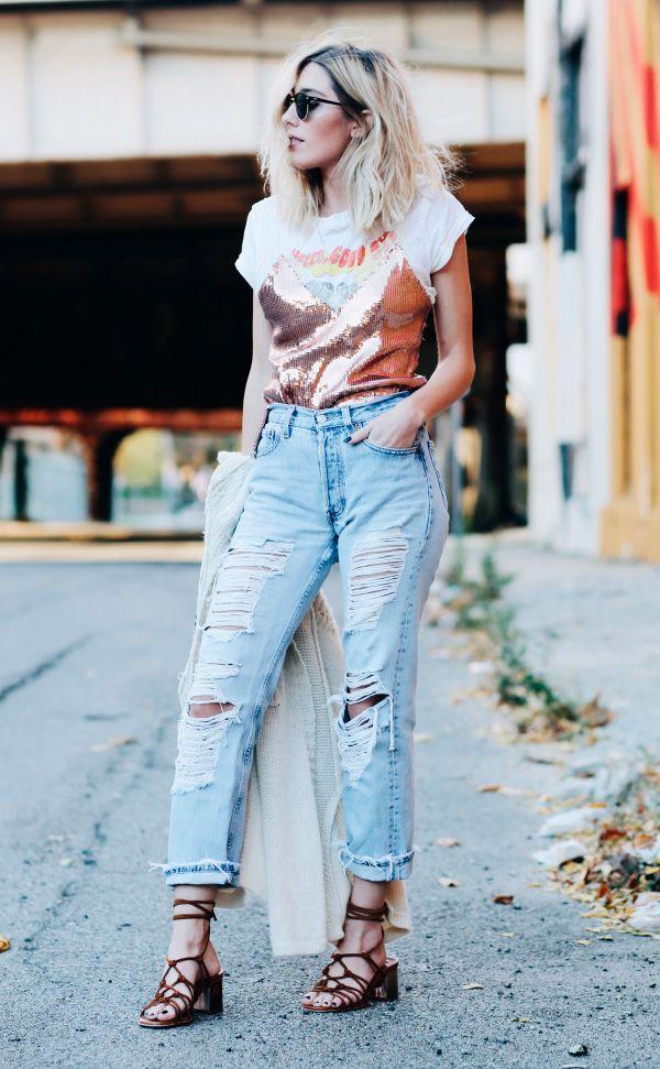 Caitlyn Warakomski com blusa de paete