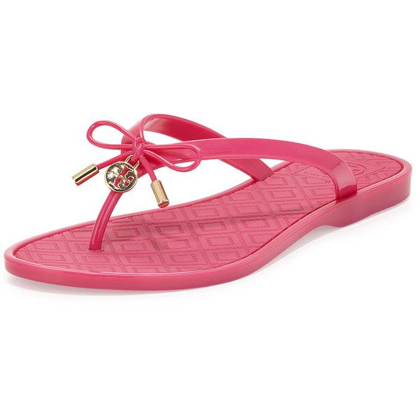 5f552175c4fb Tory Burch Jelly Bow Logo-Charm Thong Sandal ( 99) ❤ liked on Polyvore