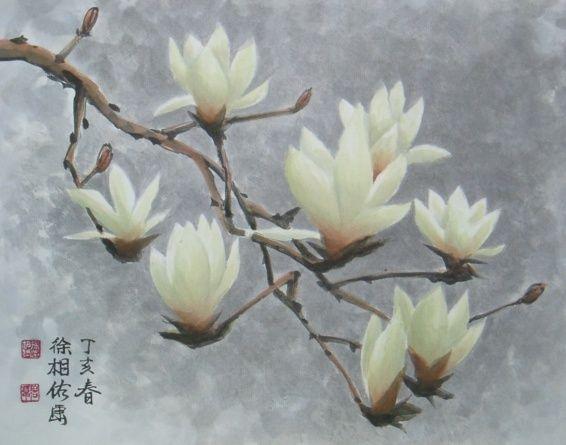 """Korean Painting """"Magnolia"""".  Gorgeous....."""