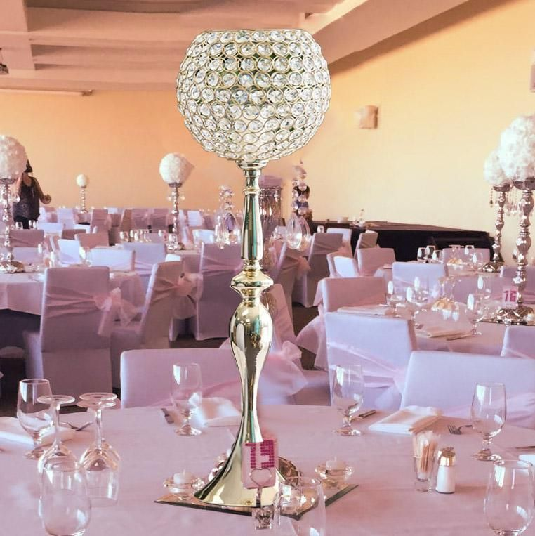 30 Gold Acrylic Crystal Goblet Candle Holder Flower Ball Stand Flower Candle Holder Flower Ball Goblet Candle Holder