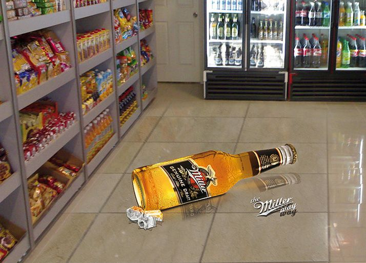 Miller beer 3d floor art in store street art and murals for Floor stickers