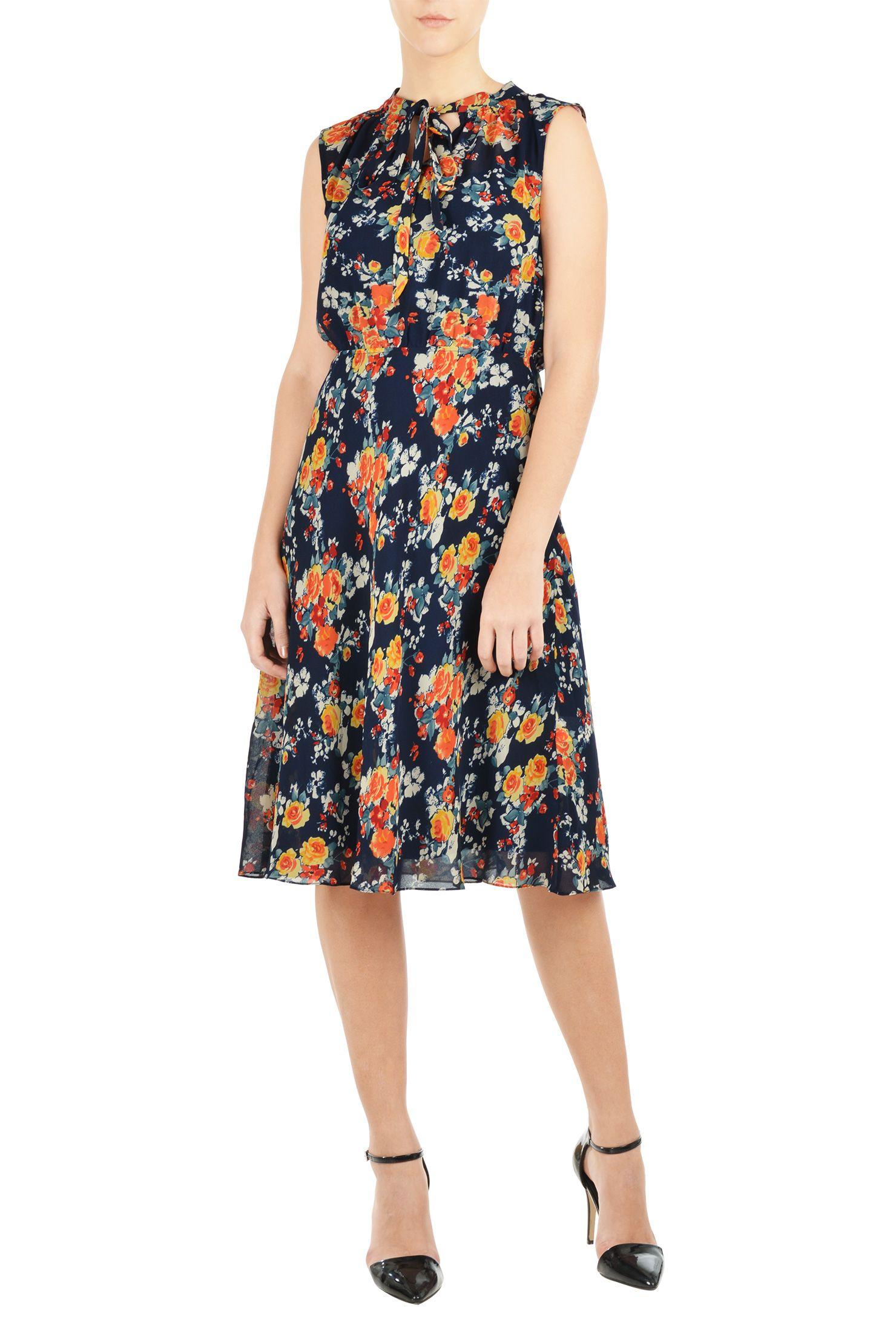 Banded round neck dresses below knee length dresses blue dresses