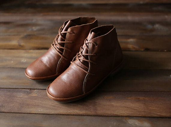 Handmade Brown Shoes for Women,Ankle Boots,Flat Sh