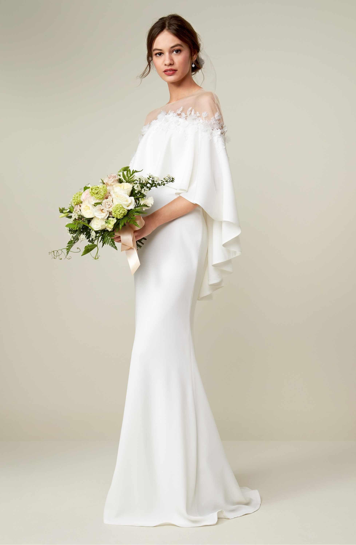 Tadashi Shoji Off The Shoulder Popover Gown Nordstrom Modest White Dress Wedding Shower Dress Wedding Dress Sizes [ 3000 x 1956 Pixel ]