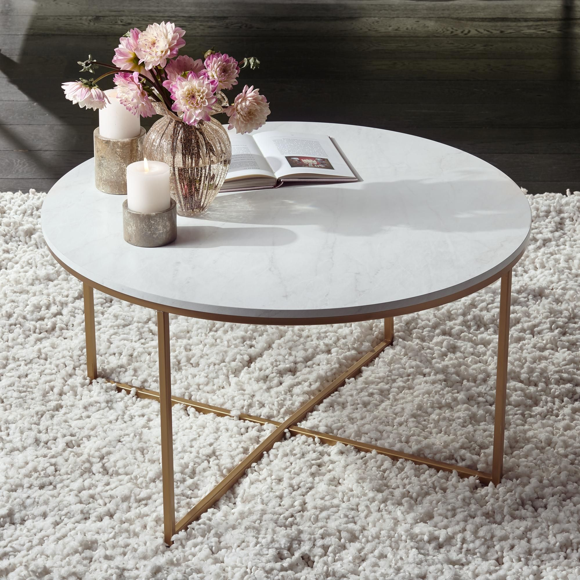 Tables Aurelia 36 Wide Faux Marble And Gold Modern Coffee Table Gold Coffee Table Decorating Coffee Tables Round Coffee Table