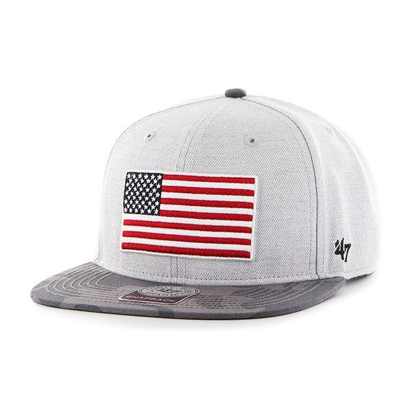Operation Hat Trick Surveyor Gray Camo Lid 47 Brand Snapback USA Flag Hat 6e1eb165799