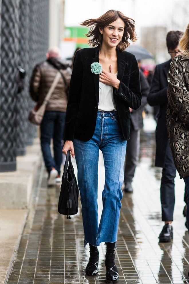street looks la tendance jeans vue a la fashion week. Black Bedroom Furniture Sets. Home Design Ideas