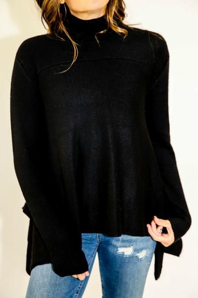 RD Style Black Turtleneck Swing Sweater | Celebrity Casual ...