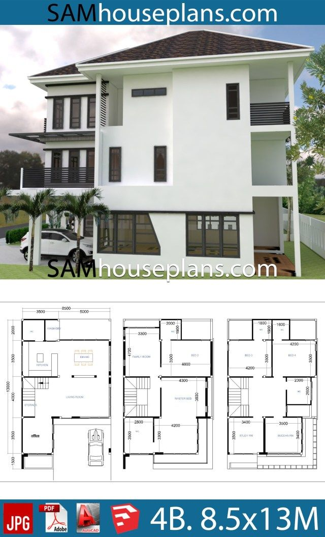 House Plans 8 5x13 With 4 Bedrooms Sam House Plans House Plans 4 Bedroom House Plans House Layouts