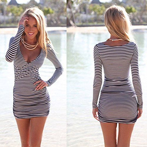 3c2b22b007 Amazon.com: Czluo Sexy Women Summer Striped Bodycon Bandage Slim Evening  Party Cocktail Mini Dress multi-color M: Home & Kitchen