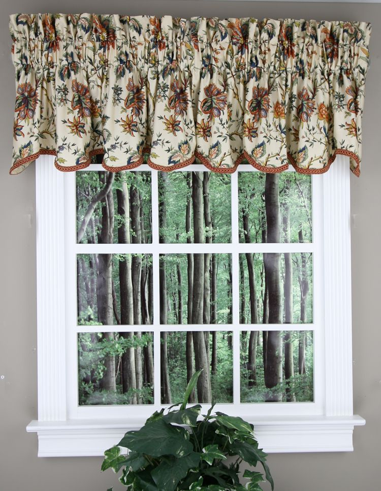 Felicite Scalloped Valance by Waverly. Multi Color Jacobean ...