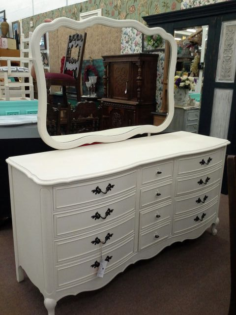SOLD   This Is A Dixie Brand 9 Drawer Dresser With Mirror. Painted A Creamy