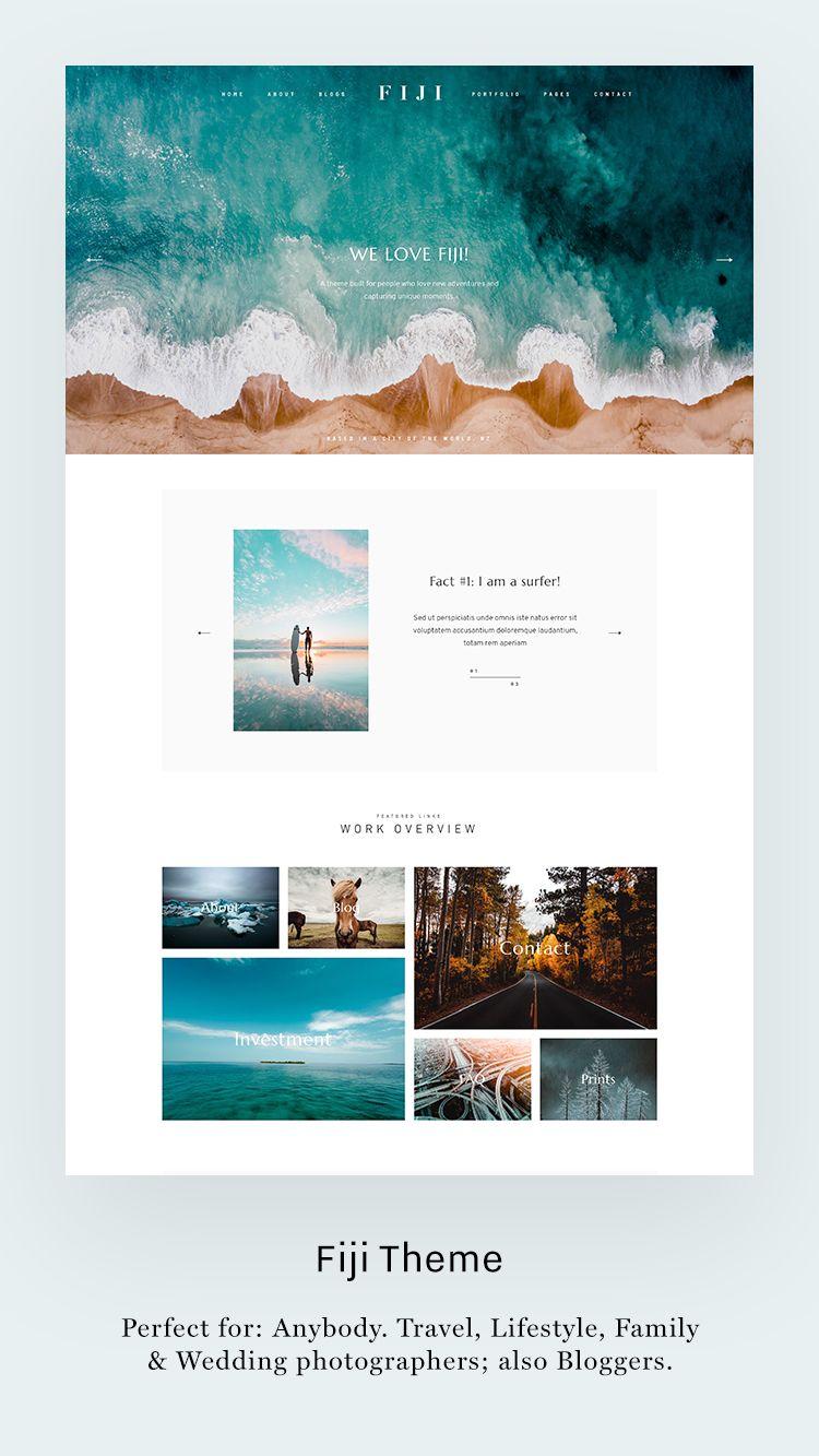 Fiji Theme, Fresh Style Kit, website design for photographers & bloggers. Perfect for: Anybody. Travel, Lifestyle, Family & Wedding Photographers; also Bloggers.