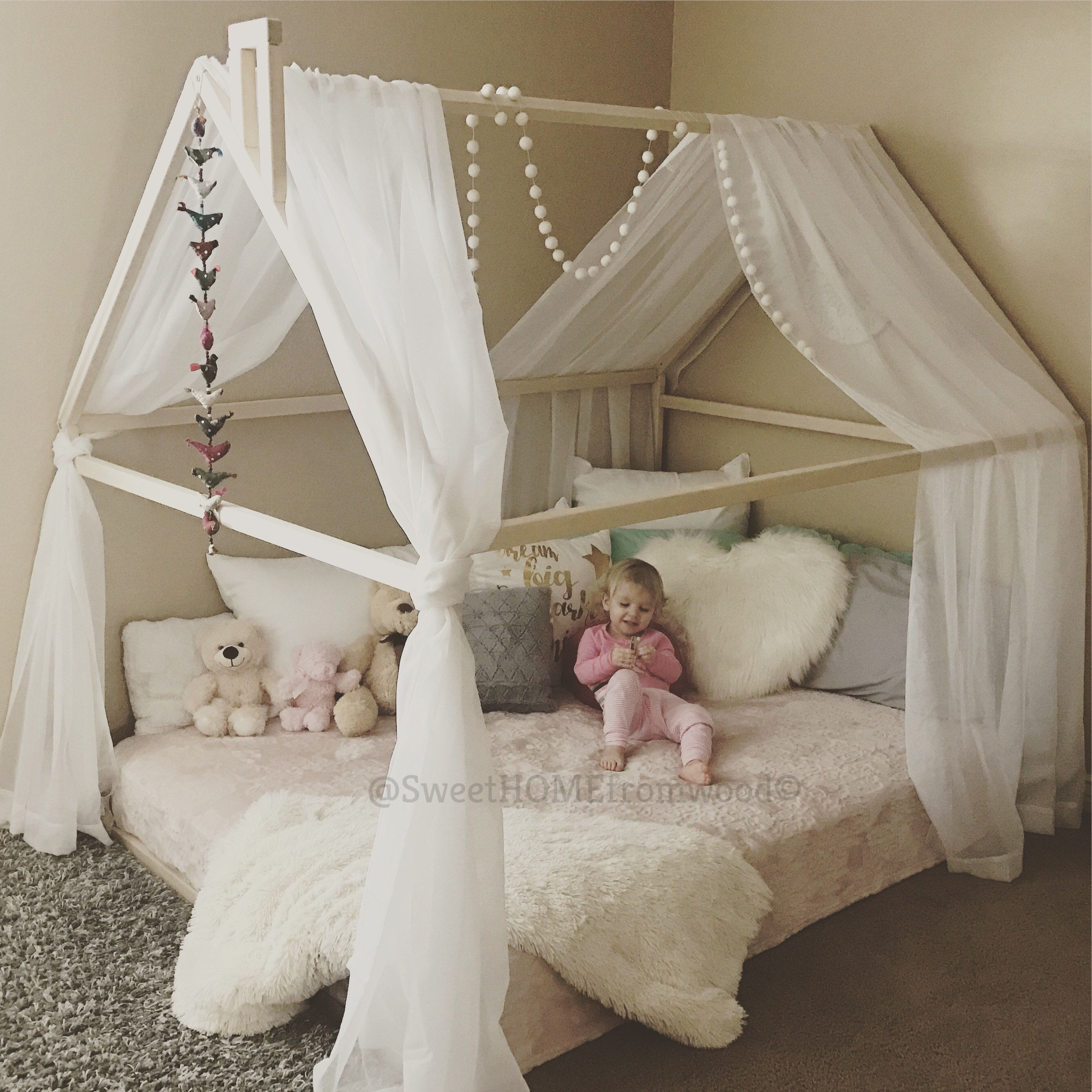 Toddler bed house bed tent bed children bed wooden house wood  sc 1 st  Pinterest & Toddler bed house bed tent bed children bed wooden house wood ...