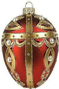 Red and Gold Faberge-Inspired Easter Egg Ornament